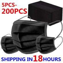 5-máscara descartável preta de 200 pces máscaras faciais não tecidas 3 camada de dobra respirável máscara de boca adulta em estoque mondmasker mascarillas