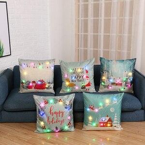 Nowy bożonarodzeniowe światełka LED poszewka łoś i święty mikołaj list śliczne poszewka na poduszkę Office samochód Sofa poduszki dekoracyjne