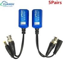 5 pares 5mp cctv vídeo balun coaxial bnc potência de vídeo balun transceptor conectores para cat5e 6 rj45 conector
