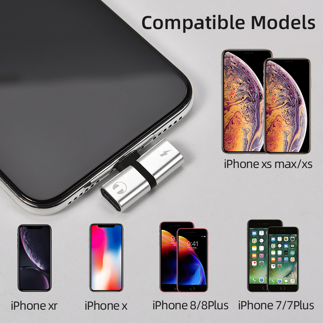 T-shaped Headphone 2-in-1 Dual-port Headphone Adapte for iPhone 7 8 Plus X XS Xs Max 11 Audio Charger Dispenser Accessories 4