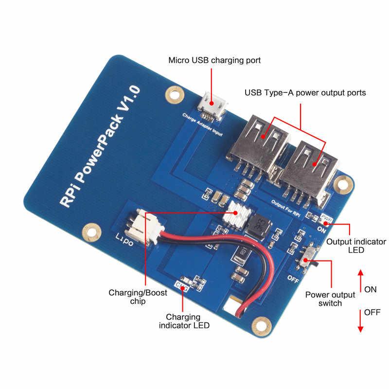 แบตเตอรี่ลิเธียมบอร์ดขยายแหล่งจ่ายไฟสำหรับ Raspberry Pi 3,2 รุ่น B 1 รุ่น B + กล้วย Pi