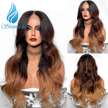 3 tony kolor 13*6 koronki przodu peruka z dzieckiem włosy brazylijski ciało fala Remy ludzki włos peruki dla kobiet Pre oskubane naturalną linię włosów
