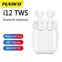 Naiku i9s i12 tws sem fio fone de ouvido toque chave bluetooth 5.0 esporte fone estéreo para iphone xiaomi huawei samsung telefone inteligente Fones de ouvido     -