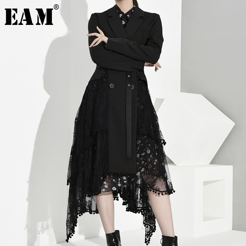[EAM] Women Asymmetrical Lace Split Long Trench New Lapel Long Sleeve Loose Fit Windbreaker Fashion Autumn Winter 2019 JO5690