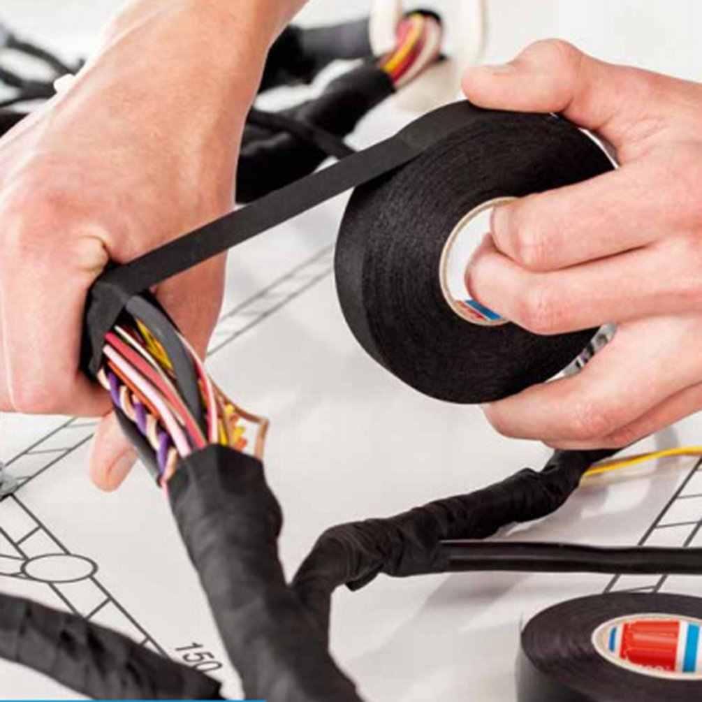 Mobil Flanel Tape Harness Tape Tahan Api Tape Suhu Tinggi Super Lengket Isolasi Listrik Tape Pita Hitam