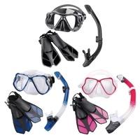 Diving Mask Breathing Tube Swim Fins Kit Anti fog Glasses Dry Top Snorkels Set Women Men Snorkeling Tool Supplies