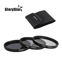 GloryStar 3 in 1 gri ND2 ND4 ND8 Lens filtre kiti seti 49mm 52mm 55mm 58mm 62mm 67mm 72mm 77mm Canon Nikon Sony Pentax için kamera