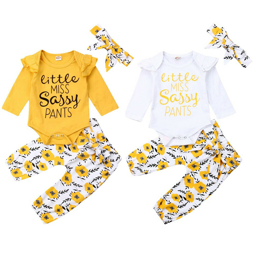 Toddler <font><b>Baby</b></font> <font><b>Girl</b></font> Autumn <font><b>Clothes</b></font> Yellow <font><b>Newborn</b></font> <font><b>Girl</b></font> Long SLeeve Sunflower Romper +Pants +Headband Casual 3 Piece Outfits image