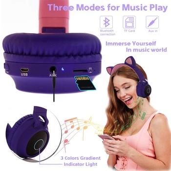 Cat Ear LED Bluetooth Headphone Cute Headphones, Bluetooth Kids Girls Headphones Glowing Light Handsfree Headset Gaming Earphone 2