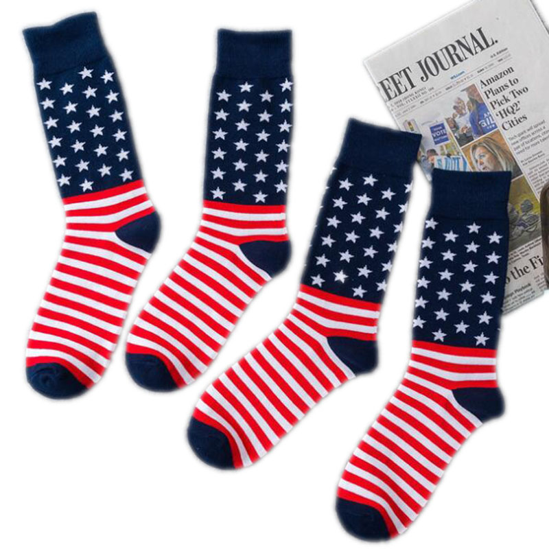 1Pair American Flag Socks American Trump Flag Socks Striped Cotton Socks Funny Trump Socks Sports Pure Color Longe Tube Socks