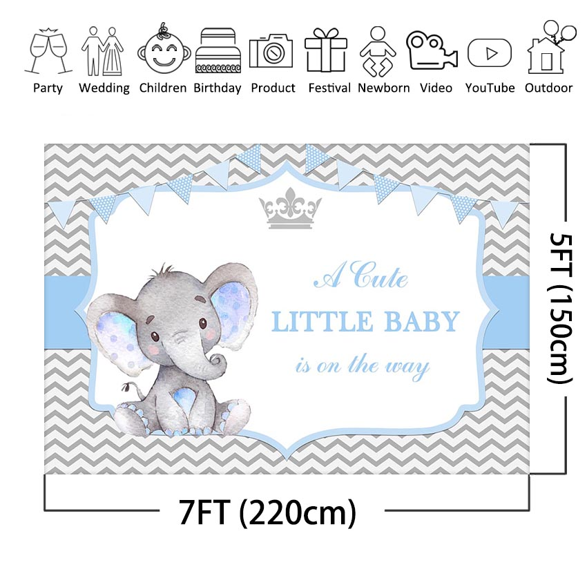 Boy Elephant Baby Shower Photography Backdrop Grey Chevron Crown Little Baby Elephant Party Decoration Photo Background Banner