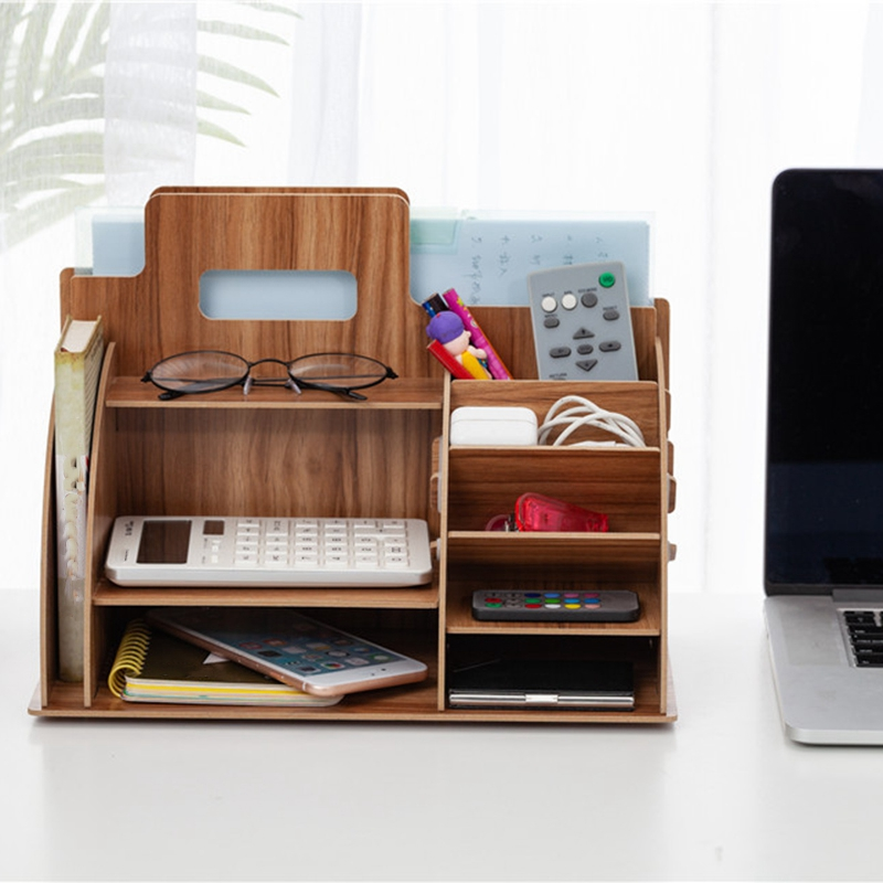 Image 3 - Wood Desk Organizer Office Bureau Pen Holder Wooden Sorter with Drawer Organizer Pen Pencil OrganizerDesk Set   -