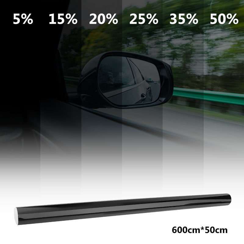 VODOOL 50x600cm VLT Black Car Window Tint Film Roll Auto Car House Window Glass Tinting Sticker Film Solar UV Protection Curatin