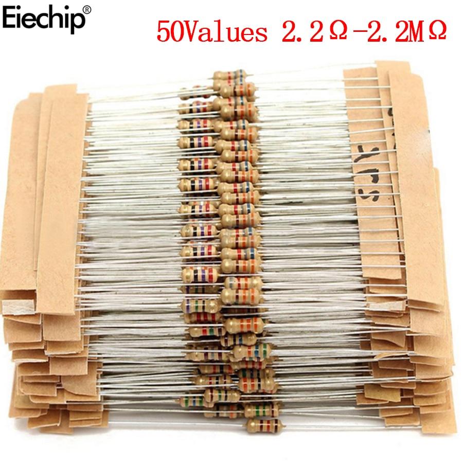 1000 шт./лот 1/4 Вт резисторы, набор в ассортименте 0,25 Вт, набор сопротивления углеродной пленки 2,2 Ом-2,2 м, ассортимент резисторов 2,2 Ом, 100 Ом