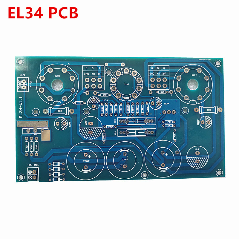 EL34 PCB EL34B <font><b>10w</b></font> single-ended class A <font><b>tube</b></font> <font><b>amplifier</b></font> ECC83 12AX7 PCB image