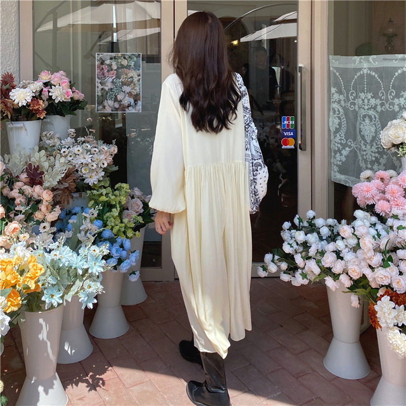 He889d12cab6c429492d9ed34d084b57cu - Autumn O-Neck Lantern Sleeves Loose Lace Solid Dress