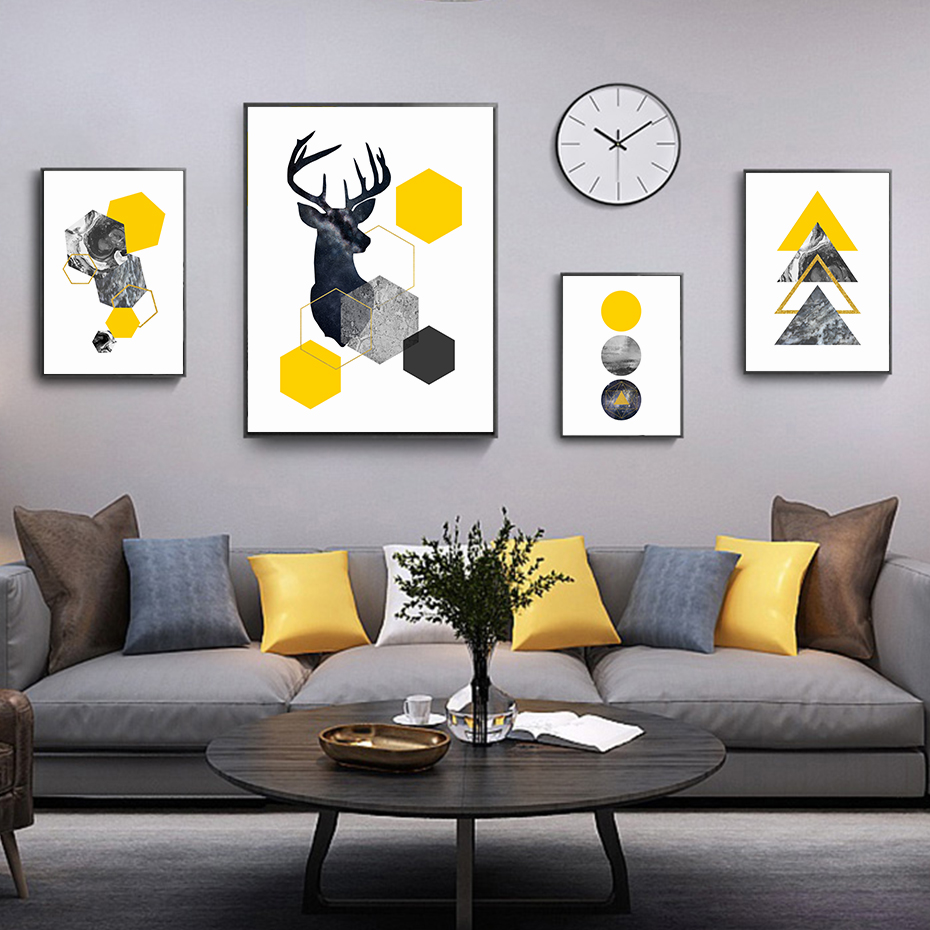 Abstract Geometric Triangles Yellow Marble Nordic Deer Canvas Paintings Wall Art Poster Prints Pictures Living Room Home Decor Painting Calligraphy Aliexpress