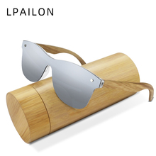LPAILON Rimless Wood Mens Sunglasses Polarized 2019 Mirror L
