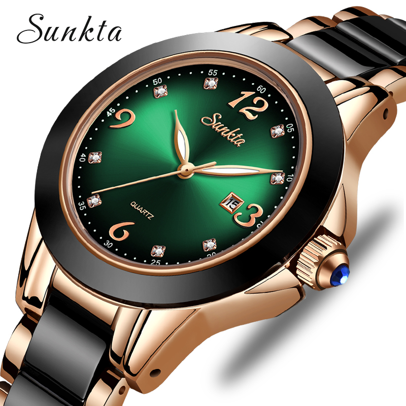 SUNKTA 2020 Watch Women Fashion Luminous Hands Date Lndicator Stainless Steel Strap Quartz Wrist Watches Lady Green Water Ghost