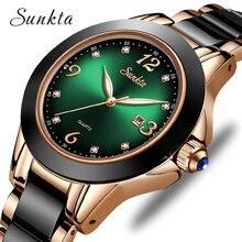SUNKTA 2020 zegarka kobiet mody świetliste dłonie data Lndicator stal stalowy pasek kwarcowy zegarki pani zielona woda duch