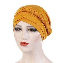 Turban extensible pour femmes musulmanes, chapeau de chimio contre la perte de cheveux, couleur unie, écharpe de tête tressée, Bonnet