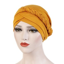 Women Ladies Muslim Hair Loss Stretch Turban Caps Cancer Chemo Hat Solid Color Braid Head Scarf Beanie Bonnet
