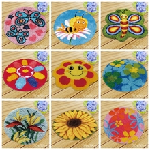 Nicediy Sun flower Button Package Carpet Embroidery Flowers Latch Hook DIY Do It Yourself Foamiran Carpet Latch Hook Cushion Kit rainbow flower cushion button package smyrna needle for carpet embroidery everything for handmade latch hook rug do it yourself