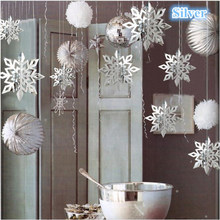 Frozen Christmas Party Snowflake Decoration 3D Hollow Snowflake Paper Garland Decoration Fake Snow Winter House Decoration(China)