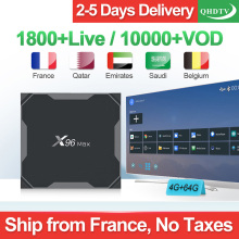 QHDTV France Arabic IP TV Box X96 Max 4+64G Android 8.1 Support BT Dual-Band WIFI IPTV Netherlands Belgium