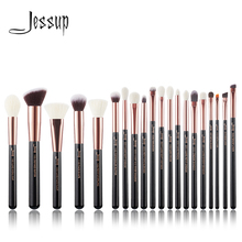 Jessup Rose Goud/Zwart Professionele Make Up Kwasten Set Make Up Borstel Gereedschap Kit Foundation Poeder Borstels Natuurlijke Synthetische haar