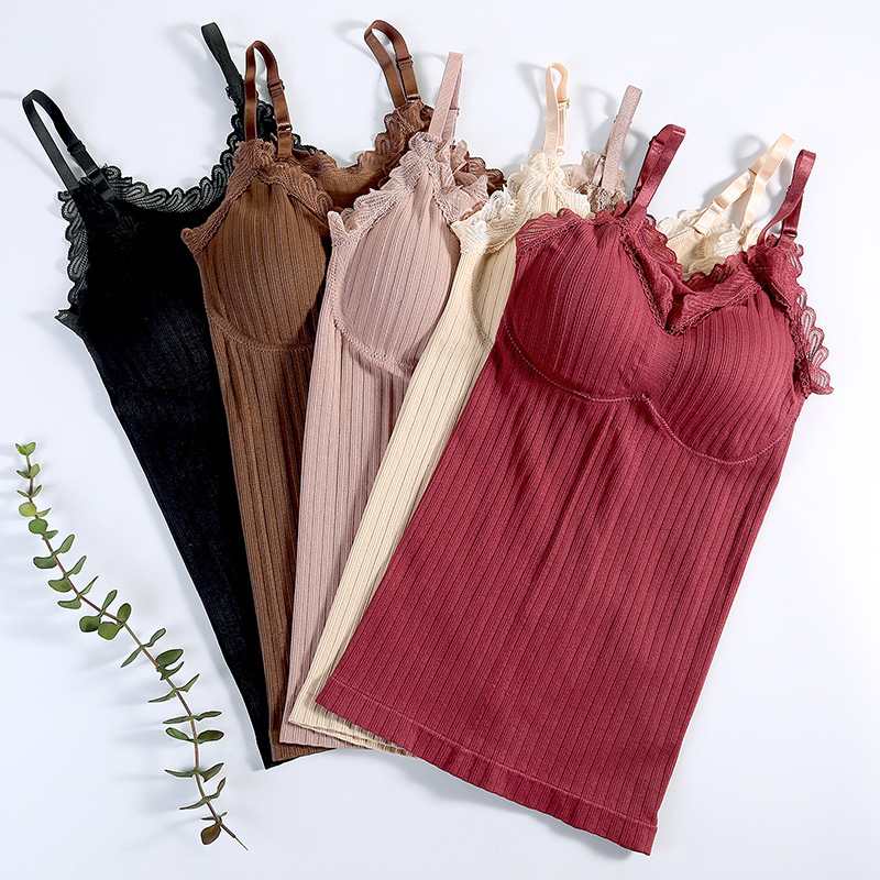 Women Sexy Lace Tops Padded Lingerie Sleeveless Vest Breathable Tube Tank Soft Comfort Underwear Bra Female Intimates #F