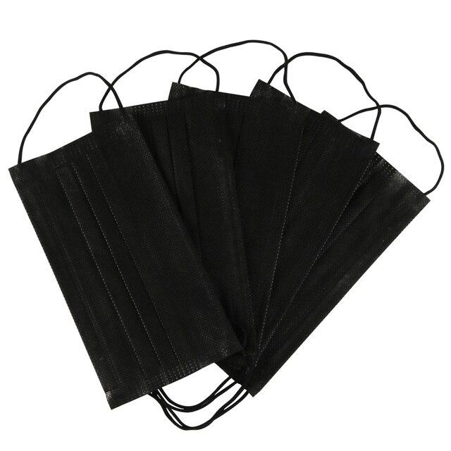 3layers 10/20/50pcs/Bag Mouth Mask Disposable Black Cotton Non-Woven Mask 1