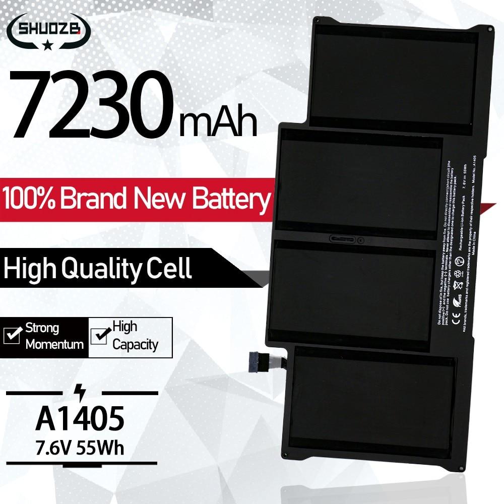 Аккумулятор A1405 7230 мАч для ноутбука Apple Macbook Air, 13 дюймов, A1377, A1369, A1496, A1466, конец 2010, середина 2011, 2013, Ранняя 2014, 2015