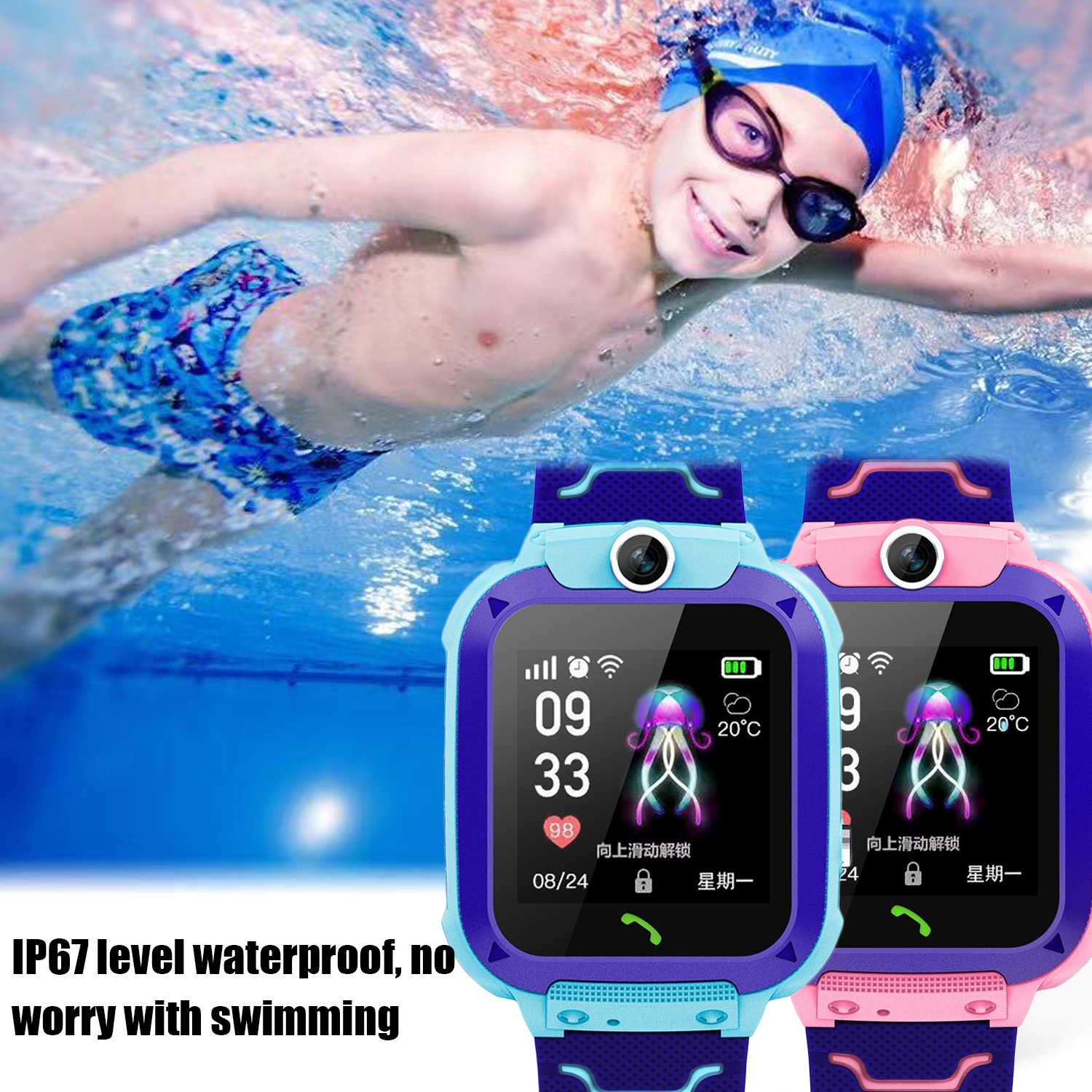 Multifunction Waterproof Anti-lost Smart Watch Smartwatch Phone Tracker Locater Real-time Monitor For Kids Children Boys Girls