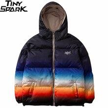 ผู้ชาย Hip Hop ฤดูหนาว Hooded Jacket Reversible 2019 Streetwear Gradient สี Parka Harajuku Puffer Coat Windbreaker Outwear
