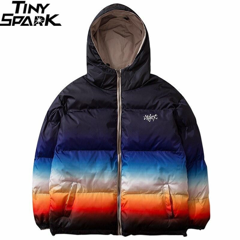 Men Hip Hop Winter Hooded Jacket Reversible 2019 Streetwear Gradient Color Padded Parka Harajuku Puffer Coat Windbreaker Outwear