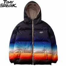Men Hip Hop Winter Hooded Jacket Reversible 2019 Streetwear Gradient Color Padded Parka Harajuku Puffer Coat Windbreaker Outwear