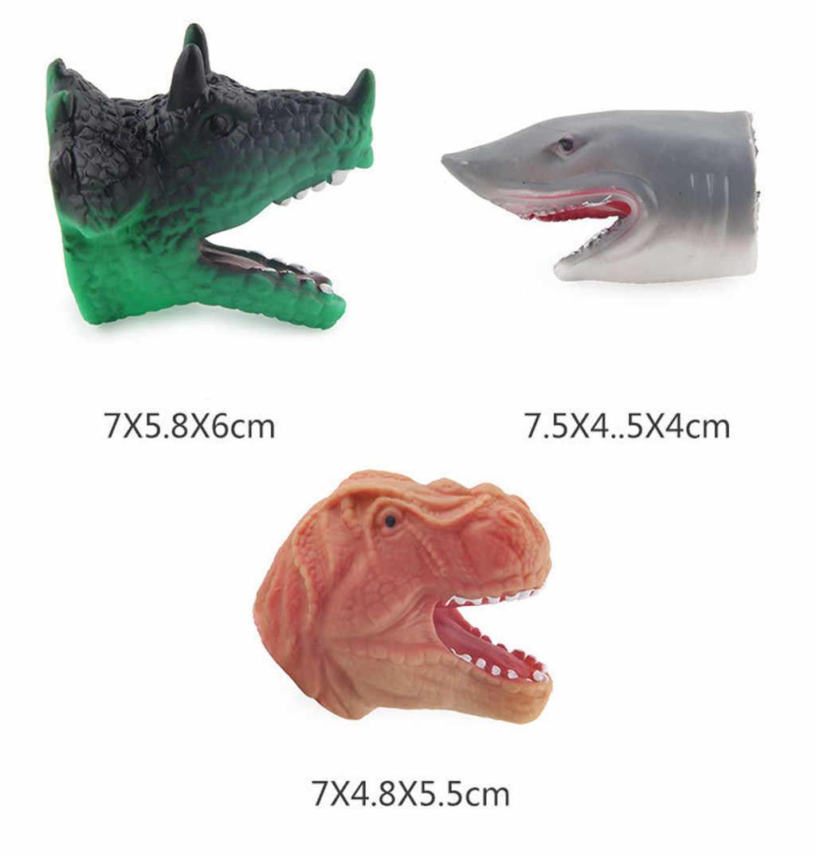 ชุดลายนิ้วมือหัวไดโนเสาร์หุ่นนิ้วมือเล่นเหมาะสำหรับเด็กวันเกิด Party Classroom Supply ของเล่นเด็ก L622