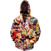 2020 novo outono inverno 3d impresso dos desenhos animados goku hoodies moletom de manga longa com zíper marca jaqueta moda streetwear masculino hoodie