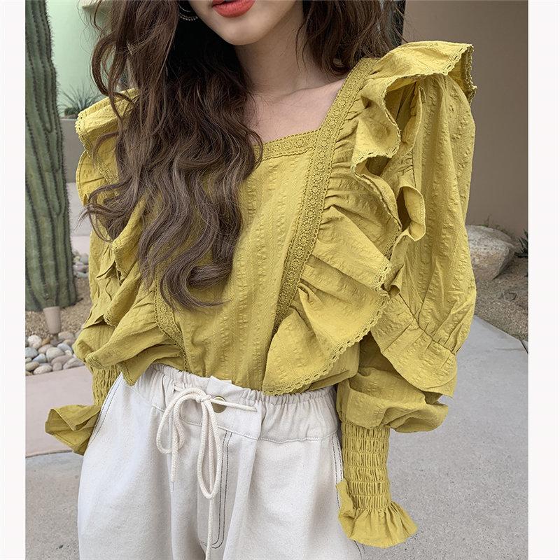 Alien Kitty Chic All Match Vintage Stylish Cute Square Collar Women Lantern-Sleeved Autumn Sweet Office Lady Streetwear Shirts