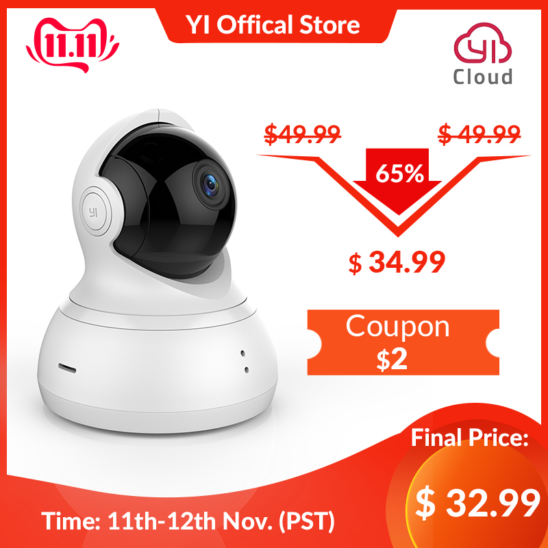 YI Dome Camera 1080P Pan/Tilt/Zoom Wireless IP Security Surveillance System Complete 360 Degree Coverage Night Vision Black-in Surveillance Cameras from Security & Protection