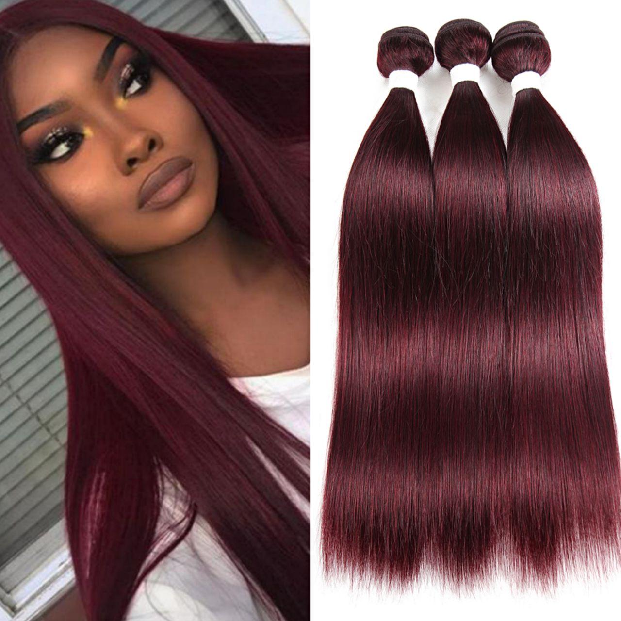 99J RedWine Straight Human Hair Bundles SOKU Brazilian 100% Non-Remy Human Hair Weave Bundles 3/4 PCS Human Hair Extensions