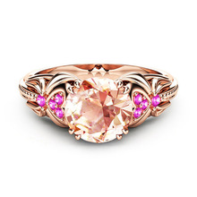 Exquisite Women Rose Gold Ring Pink Crystal Zircon Ring European Engagement Wedding Band Jewelry Gift exquisite sky blue zircon crystal engagement ring oval gems rose gold wedding band ring anniversary fine jewelry gift for women