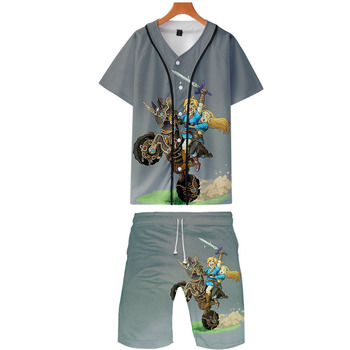 The Legend of Zelda two piece set jackets and shorts Kpop Fashion new cool The Legend of Zelda baseball jacket set for men