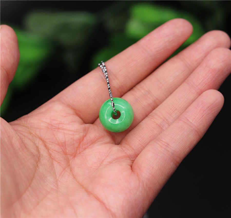 1 jade VERDE Natural 15MM colgante de cuentas de la suerte collar chino joyería amuleto de moda regalos hombre mujer cuerda gratis nuevo