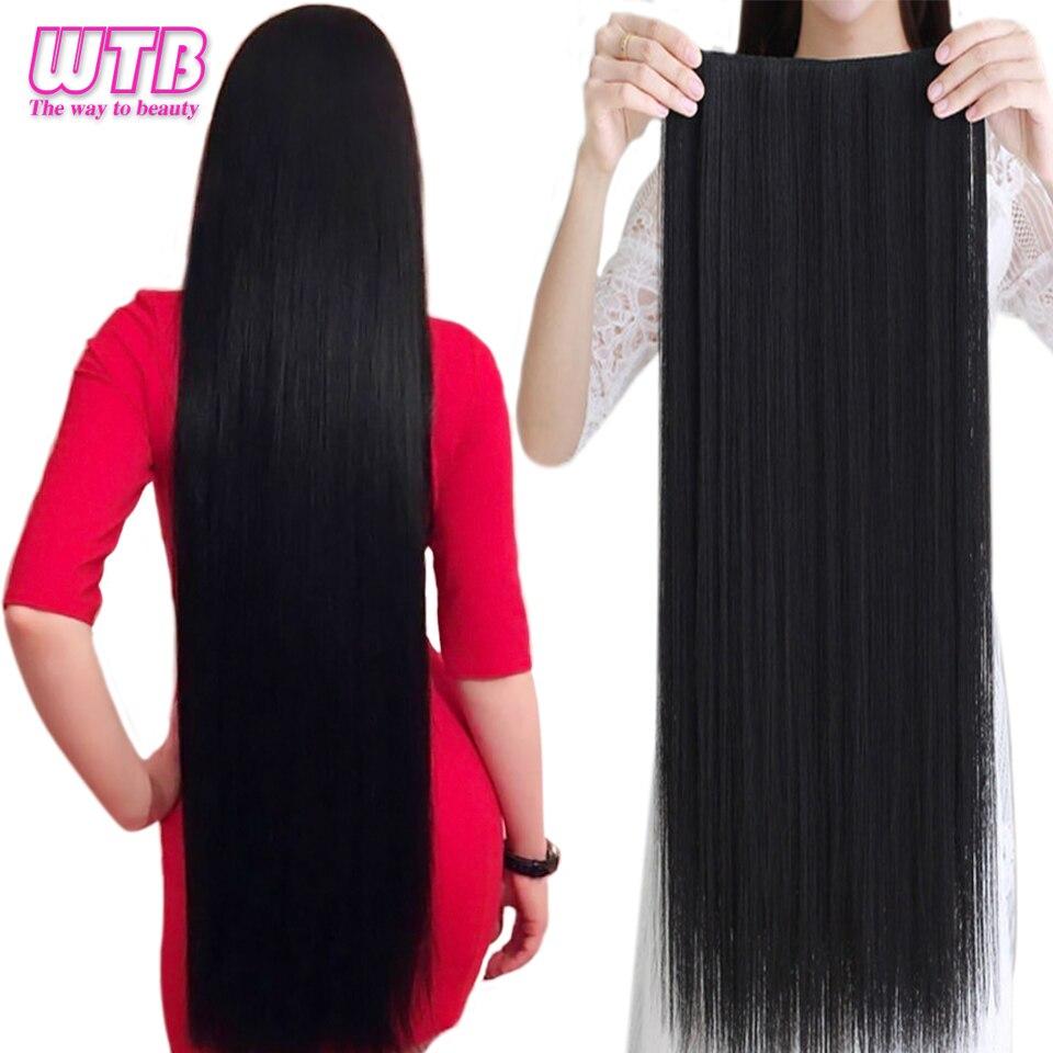WTB 100 см 5 заколок для наращивания волос термостойкие длинные прямые черные искусственные шиньоны для женщин натуральные синтетические воло...