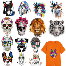 T-Shirt Clothing Stickers Skull-Iron-Patch Thermal-Transfer Vinyl Appliques Small