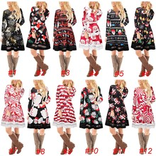 Women Christmas Long Sleeve Dress Xmas Dresses fast delivery
