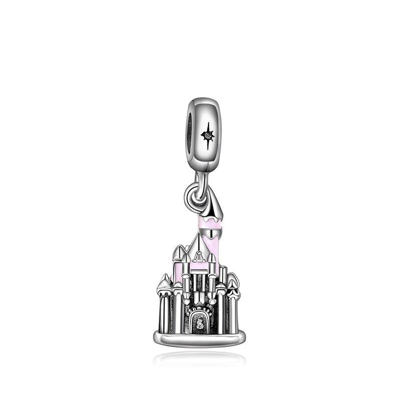 Новинка, сплав, шарик Микки и Минни, сказочный Дамбо, любовь, шарм, подходит для Пандоры, браслет, ожерелье, сделай сам, Женские Ювелирные изделия - Цвет: Pink Castle