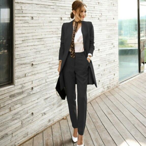 2020 秋レディース 2 ピースパンツスーツ女性オフィスビジネススーツフォーマルなワークウエアセット制服スタイルエレガントなパンツスーツ DG279